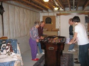 Joe's parents playing foozeball